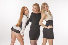 3 худеньких девушки на белой предпосылке Стоковое Фото