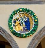 Художественное произведение аннунциации керамическое в Пистойя Тоскане Италии Стоковое Изображение RF