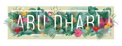 Художественное произведение города АБУ-ДАБИ вектора флористическое обрамленное типографское Стоковые Фотографии RF