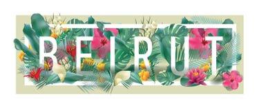Художественное произведение города БЕЙРУТА вектора флористическое обрамленное типографское Стоковое Изображение RF