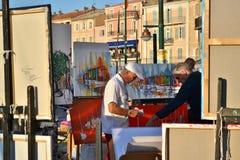 Художник в St Tropez стоковые фотографии rf