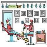 Художник предлагает вариант татуировки для концепции клиента Магазин татуировки вектора с предпосылкой людей плоский ретро стиль Стоковые Фотографии RF