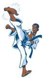 Художник предназначенного для подростков африканского мальчика военный исполняя пинок Стоковые Изображения