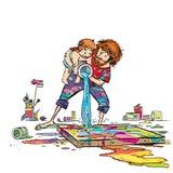 Художник с его краской сына изображение Стоковые Фото
