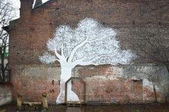 Художническая картина на стене Стоковое Изображение