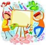 Художнические дети иллюстрация штока