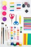 Художнические инструменты для детей и взрослых Стоковые Изображения RF