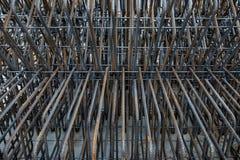 Художнические стальные пруты крупного плана, подкрепления на строительной площадке, предпосылке Стоковое Фото