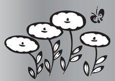 Художнические цветки и бабочка Стоковая Фотография RF