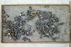 Художнические части прессформы вытравленные в камне показанном около озера Gadisar Стоковая Фотография RF