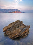 Художнический ландшафт моря на времени захода солнца, Черногории стоковые изображения rf