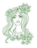 Художнический чертеж вектора красивой девушки с Стоковые Изображения