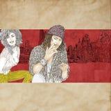Художнический silkscreen Джонни Депп актер, директор, музыкант Стоковое Изображение