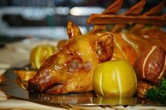 Художнически украшенное блюдо от шеф-повара - поросенок испек в яблоках стоковое фото