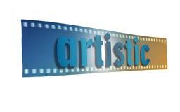 Художническое слово написанное в сини на сини и sepia прокладки фильма предпосылки пустых Стоковые Фото