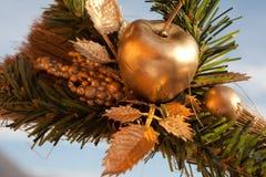 Художническое украшение mady золотых яблока и зеленого растения Стоковое Фото