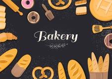 Хлебопекарня продуктов на черной предпосылке Стоковые Фотографии RF