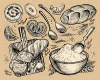 Хлебопекарня, хлеб нарисованные вручную эскизы еды также вектор иллюстрации притяжки corel иллюстрация штока