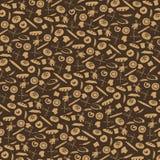 Хлебопекарня Doodle, картина силуэта хлеба Винтаж Стоковые Фотографии RF
