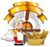 Хлебопек около печи Стоковые Фотографии RF