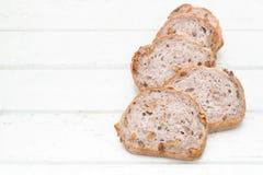 Хлеб грецкого ореха на белой деревянной предпосылке Стоковая Фотография RF