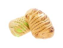Хлеб заполненный с заварным кремом и таро Стоковое Фото