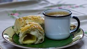 Хлеб и кофе Стоковая Фотография RF