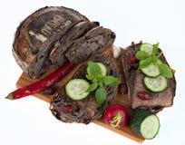 Хлеб и мясо на предпосылке Стоковая Фотография RF