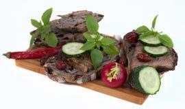 Хлеб и мясо на предпосылке Стоковое Фото