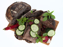 Хлеб и мясо на предпосылке Стоковые Фотографии RF
