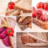Хлеб и уши коллажа пшеницы Стоковое Изображение