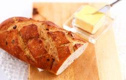Хлеб и butterdish Стоковое фото RF