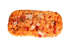 Хлеб пиццы при томаты и моццарелла изолированные на белизне Стоковые Изображения