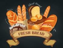 хлеб свежий Печь эмблема магазина Логотип хлеба для магазина хлебопекарни Клеймить, ярлык, знамя, ассортимент вектор Стоковое фото RF