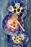 Хлеб с ягодами и плодоовощами, сыром и медом bruschetta Стоковые Изображения