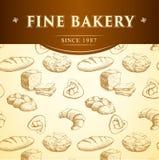 Хлеб хлебопекарни Безшовная картина предпосылки Стоковые Фотографии RF