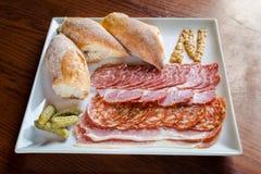 Хлеб, andSalame Calabrese ветчины Стоковое Изображение