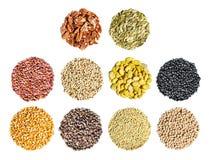 Хлопья, зерно и семена Стоковая Фотография