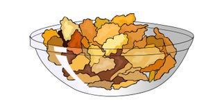 Хлопья мозоли в прозрачной плите Еда здорового и вкусного завтрака здоровая Продукты для диеты вектор Стоковое фото RF