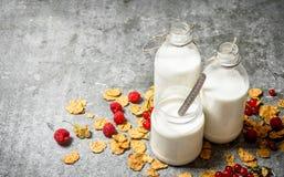 хлопья штанги diet пригодность Молоко с хлопьями и ягодами Стоковые Фотографии RF