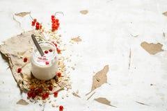 хлопья штанги diet пригодность Сливк молока с овсами и зрелыми смородинами Стоковые Изображения RF