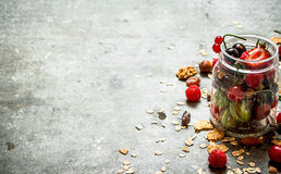 хлопья штанги diet пригодность Ягоды с muesli и гайками Стоковое фото RF