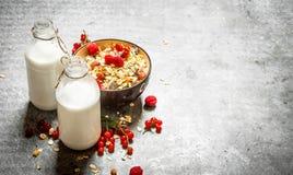 хлопья штанги diet пригодность muesli молока ягод Стоковое Фото