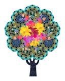 Цвести дерево жизни с орнаментальным хоботом и кроной в форме вселенной геометрия священнейшая иллюстрация штока