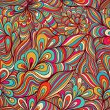 Цветастая безшовная абстрактная нарисованный вручную картина, предпосылка волн Стоковое Фото