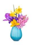 Цветастые цветки весны в вазе Стоковая Фотография RF