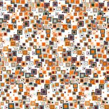 Цветастая геометрическая безшовная картина Пестротканые квадраты различных размеров, аранжированные в случайном заказе на белой п Стоковая Фотография