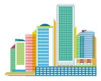 Цветастая городская панорама с небоскребами - геометрический график Стоковое Изображение