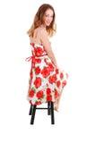 цветастая девушка платья довольно стоковые фотографии rf