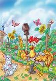 Петушок и ухо пшеницы бесплатная иллюстрация